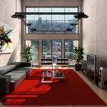 Modern kırmızı halı ile salon tasarımı