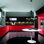 Modern kırmızı siyah italyan tasarımı mutfak dekorasyonu