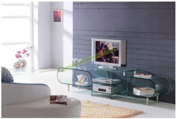 Modern kavisli cam tv stand modeli