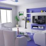 Modern mor ve beyaz renklerle salon dekorasyonu