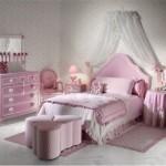 Modern pembe renkli yatak odası dekorasyonu