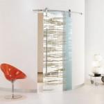 Modern sürgülü dekoratif cam kapı modeli