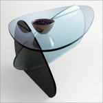 Modern siyah ayaklı oval cam sehpa modeli