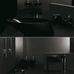 Modern siyah banyo tasarımı