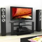 Modern siyah renkli cam tv stand modeli