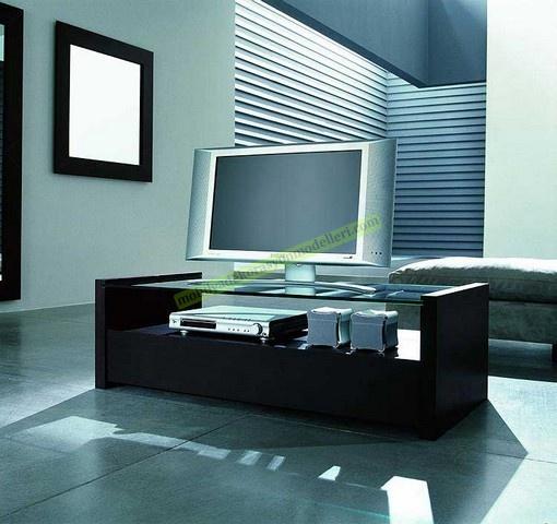 Modern siyah renkli tv cam stand modeli