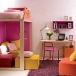 Modern tasarım kız çocukları için yatak odası dekorasyonu