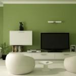 Modern tv üniteli yeşil beyaz oturma odası