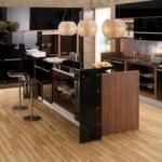 Modern ahşap laminant mutfak dolapları