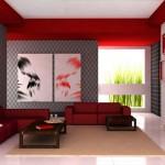 Modern ve dekoratif kırmızı renkli oturma odası dizaynı