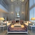 Modern ve lüks beyaz renklerle salon dekorasyonu