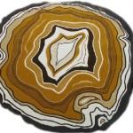 Modern yuvarlak beyaz ve kahve tonlarında halı tasarımı